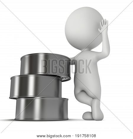 Man stand near aluminium cans. 3D render of metal canned food isolated on white.