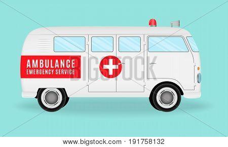 Retro ambulance car. Emergency medical service vehicle. Hospital transport. Flat style vector illustration.