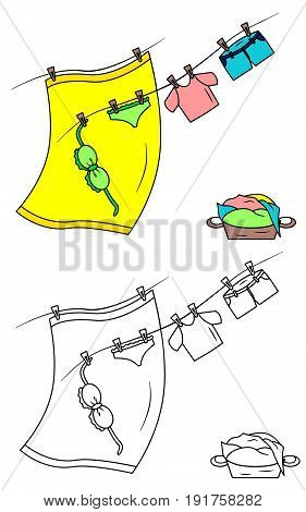Beach clothes on the rope vector illustration sketch colorful