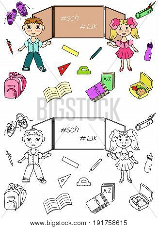 School kids icons set vector illustration sketch