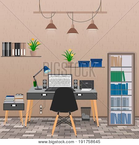 Interior of office room including work space with laptop printer lamp houseplants. Flat style vector illustration.