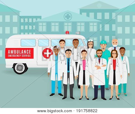 Medical team. Group of doctors and nurses and retro ambulance car on cityscape background. Male and female emergency medical service employee. Hospital staff concept. Flat style vector illustration.