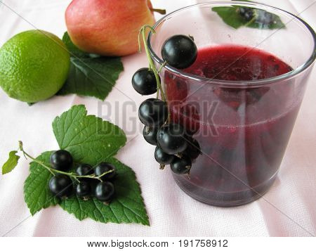 Smoothie from currants and apples and fresh fruits