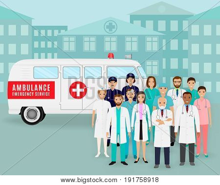 Medical team.. Group of doctors and nurses on retro ambulance background. Male and female emergency medical service employee. Hospital staff concept. Flat style vector illustration.