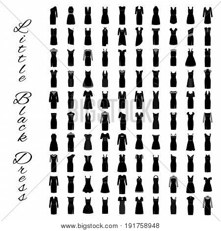 Fashion little black dresses. Big collection of 100 evening gowns. One hundred cocktail woman cloth shopping. Flat vector illustration.