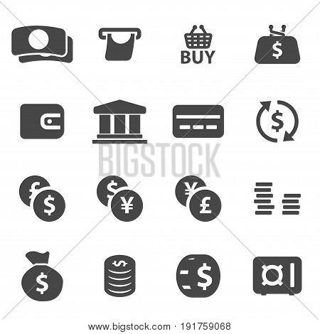 Vector black money icons set on white background