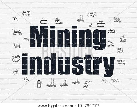 Industry concept: Painted black text Mining Industry on White Brick wall background with  Hand Drawn Industry Icons