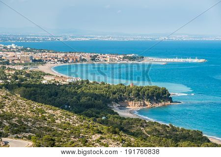 Perspective view of the costline Costa Dorada, Tarragona, Spain, sandy beaches, landscape