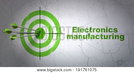 Success Industry concept: arrows hitting the center of target, Green Electronics Manufacturing on wall background, 3D rendering