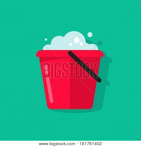 Bucket of water icon vector isolated on color background, flat cartoon pail with foam