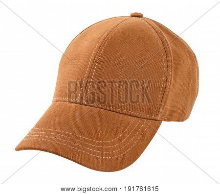 new brown baseball cap isolated on white background with clipping path. Peaked cap. Headwear