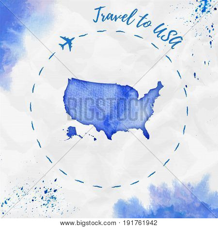 Usa Watercolor Map In Blue Colors. Travel To Usa Poster With Airplane Trace And Handpainted Watercol