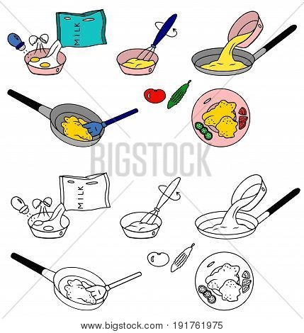 Recipe Omelet fried eggs vector  instruction illustration sketch meal food