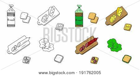 Recipe Sandwiches vector  instruction manual illustration sketch meal food