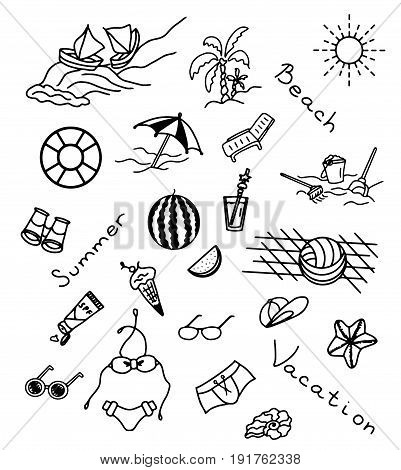 Icons set of summer beach illustration sketch