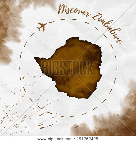 Zimbabwe Watercolor Map In Sepia Colors. Discover Zimbabwe Poster With Airplane Trace And Handpainte
