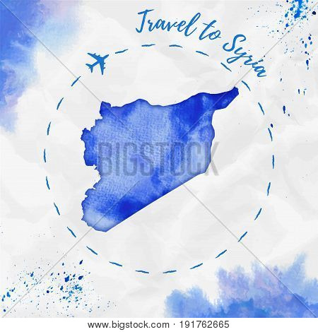 Syria Watercolor Map In Blue Colors. Travel To Syria Poster With Airplane Trace And Handpainted Wate