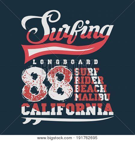 Surfing California T-shirt surfing malibu water sports inscription typography graphic design emblem