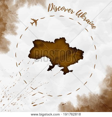 Ukraine Watercolor Map In Sepia Colors. Discover Ukraine Poster With Airplane Trace And Handpainted