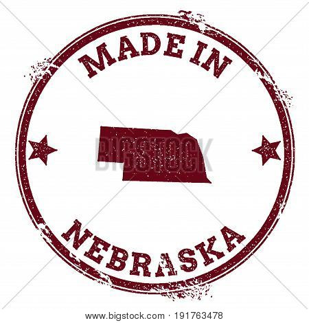Nebraska Vector Seal. Vintage Usa State Map Stamp. Grunge Rubber Stamp With Made In Nebraska Text An