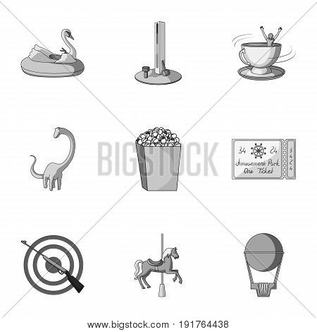 The amusement Park rides. The attributes of a recreational Park, panic room, cotton candy.Amusement Park icon in set collection on monochrome style vector symbol stock web illustration. poster