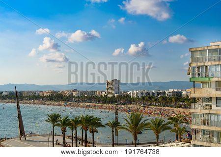 Coastline Salou, Tarragona with blue sky, Palm Trees