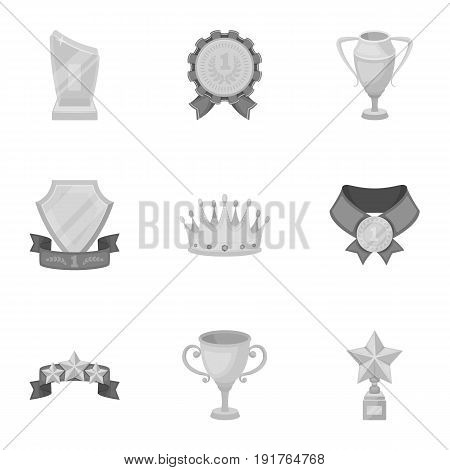 Awards, gold medals and cups as prizes in competitions and competitions. Awards and trophies icon in set collection on monochrome style vector symbol stock web illustration.