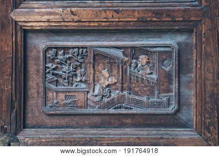 Wood carving on traditional house,Architectural details .