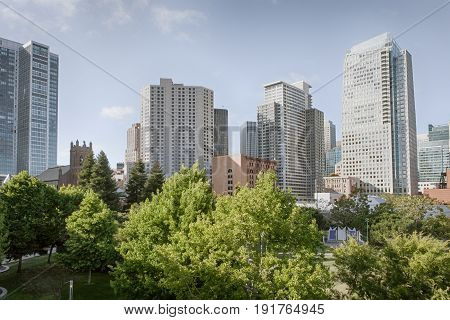 View of modern contemporary office city buildings in downtown san francisco
