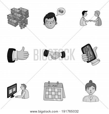 A set of pictures about the transaction, work, office. Office center, analytics.Business conference and ntgotiations icon in set collection on monochrome style vector symbol stock .