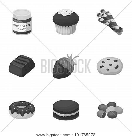 A set of chocolate sweets. Chocolate products for people. Chocolate desserts icon in set collection on monochrome style vector symbol stock web illustration.