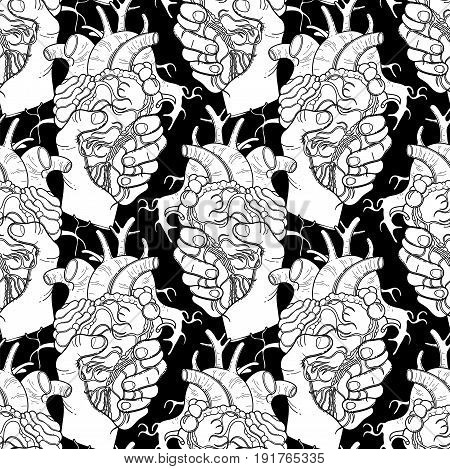 Graphic hands grasping human heart. Vector seamless pattern. Coloring book page design for adults and kids
