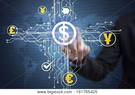 Businessman touching financial analysis graph with dollar signs money. concept exchange currency.