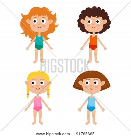 Young european girls body template: front. Girls in shirts and panties isolated on white background. Vector illustration of cute cartoon girls: red-haired, blonde, curly and brown-haired.