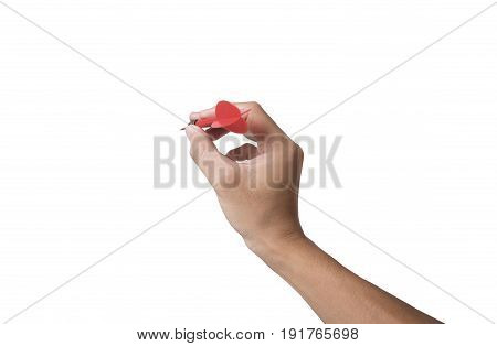 hand holding darts arrow isolated on white background. concept marketing target.