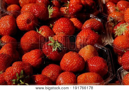 Copenhagen /Denmark - 19.June 2017. Danish strawberry plastic caontainer for sale . (Photo.Francis Joseph Dean/Deanpictures)