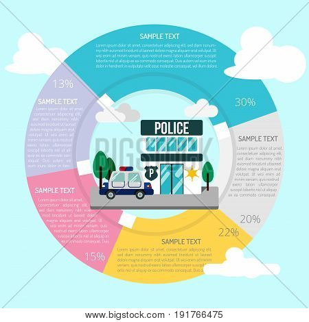 Police Station Infographic | set of vector diagram illustration use for presentation, business, marketing and much more.The set can be used for several purposes like: websites, print templates, presentation templates, and promotional materials.