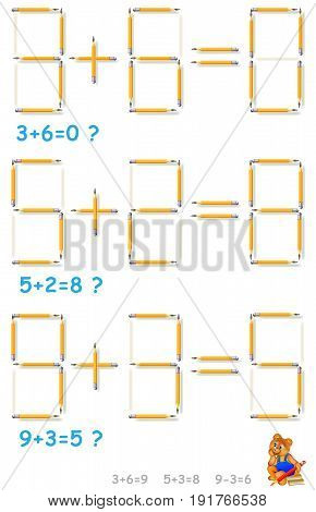 Logic puzzle. In each task move 1 pencil to make the equations correct. Vector image.