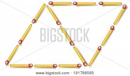Logic puzzle. Move six matchsticks to make seven triangles. Vector image.