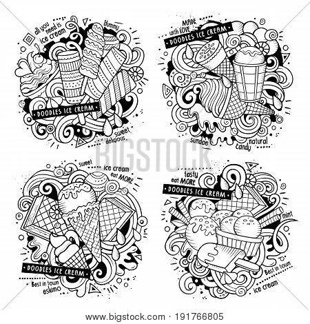 Ice cream cartoon vector doodle illustration. Line art detailed designs with lot of objects and symbols. 4 composition set. All elements separate