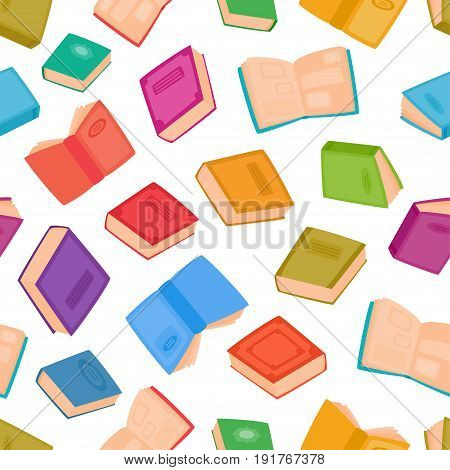 Different books seamless pattern. Vector illustration of color cartoon books isolated on white. Literature for learning and reading. Color background for decorations, background, web pages, print, textile or interior design.