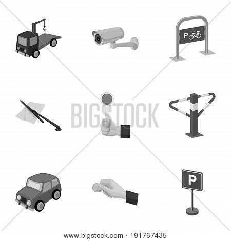 A set of icons for parking cars and bicycles. Fines and elements of parking.Parking zone icon in set collection on monochrome style vector symbol stock web illustration.
