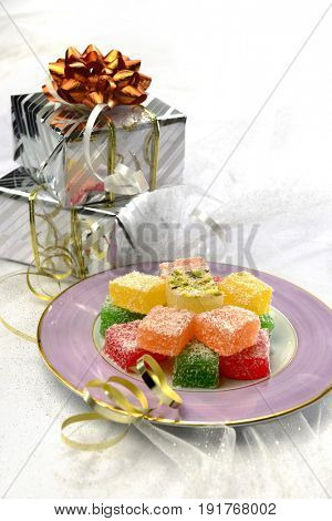Eid gift and sweet. Lokum- a Turkish delight sweet with wrapped gift boxes.