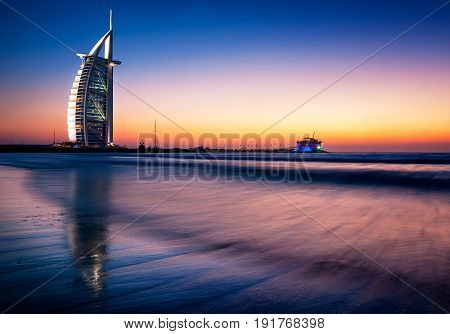 Dubai, Uae - Apr 14, 2013: Famous Jumeirah Beach View With 7 Star Hotel Burj Al Arab, Dubai, United