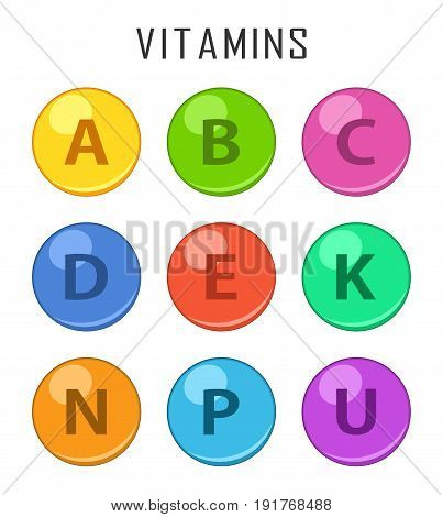 Vitamins colorful pills capcule icons isolated on white background. Retinol vitamins drop pills capsule. Vector illustartion