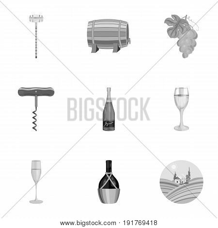 Wine products. Growing grapes, wine. Vine production icon in set collection on monochrome style vector symbol stock web illustration.