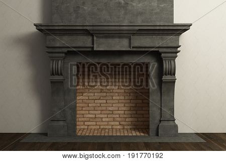 Respectable dark fireplace in the home interior