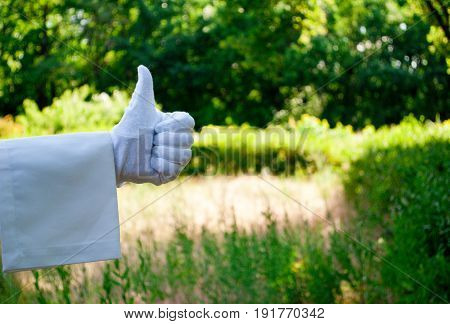 The waiter's hand in a white glove and with a white napkin shows with the fingers a sign of ok on the left on a green background of trees and bushes on a blurred background