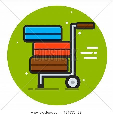 Packages delivery trolley vector icon illustration design