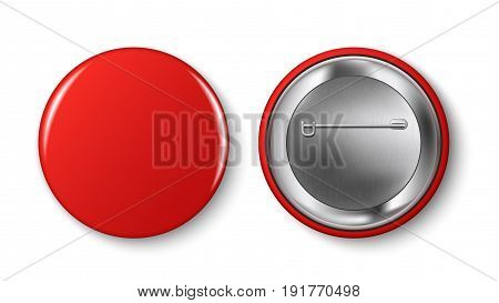 Red pin button vector. Pin button set. Collection of realistic pin buttons. Red blank badge pin brooch isolated on white background. 3D vector style. Web button.